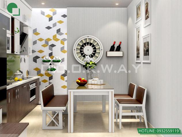Thiết kế nội thất nhà ở liền kề tại Happy Land Đông Anh by kiến trúc Doorway phòng bếp