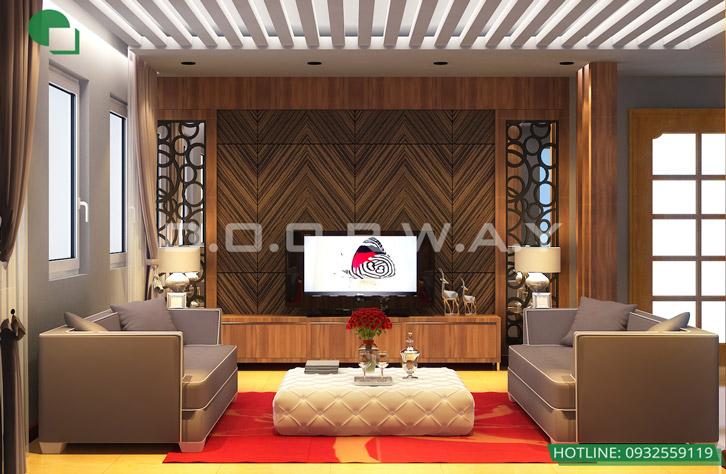 Thiết kế nội thất nhà ở liền kề tại Happy Land Đông Anh by kiến trúc Doorway phòng khách