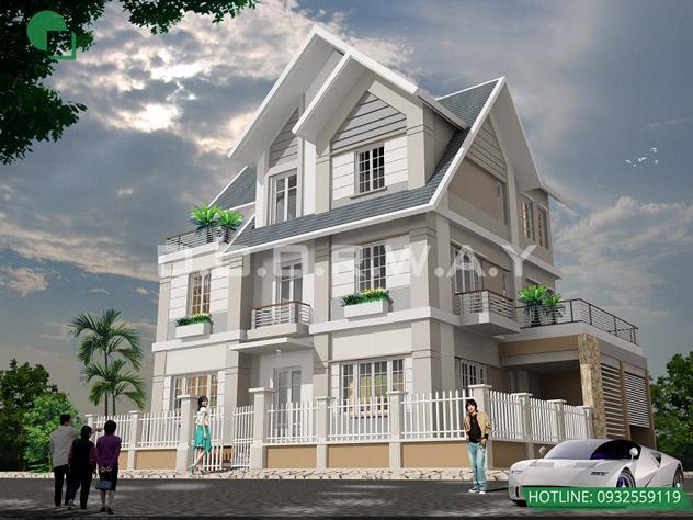 Ngắm nhìn mẫu thiết kế biệt thự 120m2 mái thái đẹp như lâu đài by kiến trúc Doorway 01