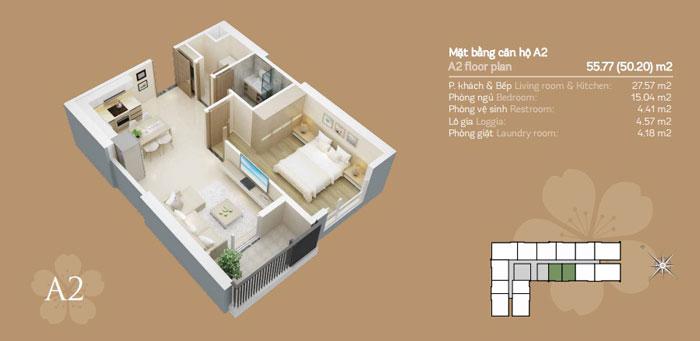 mặt bằng- thiết kế căn hộ 50m2 1 phòng ngủ Mỹ Đình Pearl - Nội thất chung cư đẹp by kiến trúc Doorway