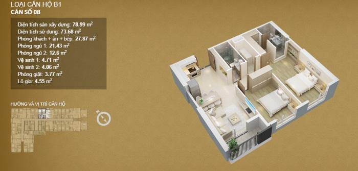 Mặt bằng - phương án thiết kế nội thất căn hộ 2 phòng ngủ Mỹ Đình Pearl
