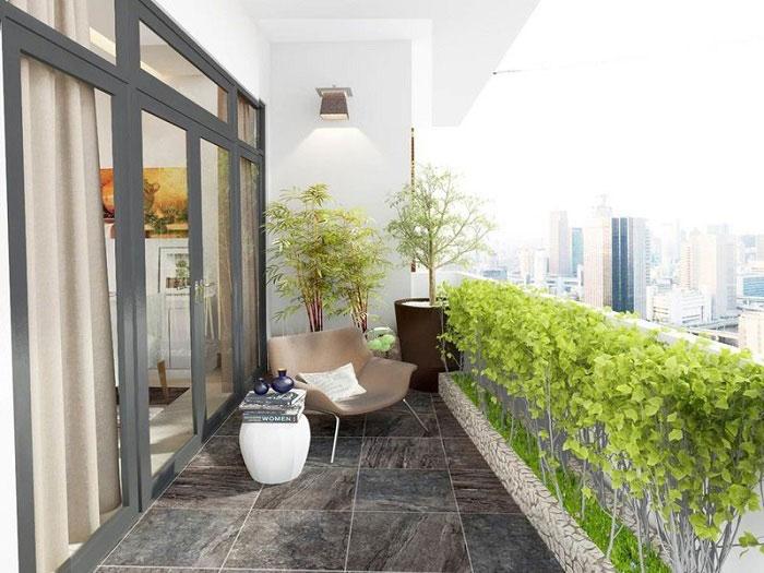 Thiết kế nội thất căn hộ 4 phòng ngủ The Manor Central Park by kiến trúc Doorway, thiết kế cảnh quan tiểu cảnh sân vườn ban công