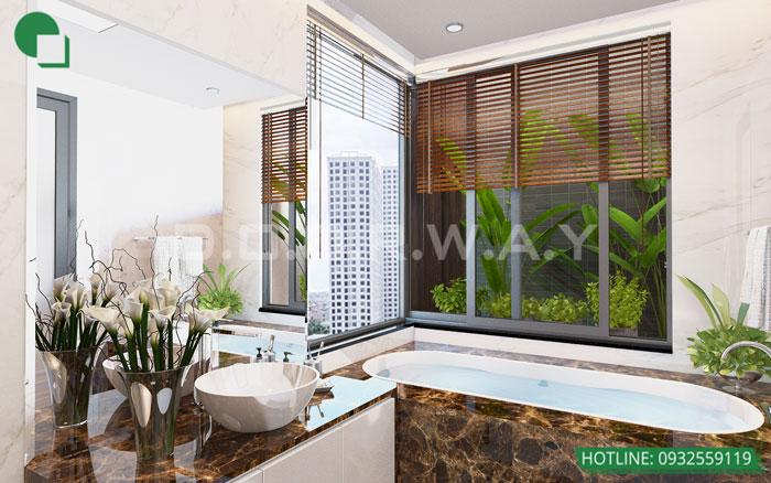 Thiết kế nội thất căn hộ 4 phòng ngủ The Manor Central Park by kiến trúc Doorway, thiết kế nội thất nhà vệ sinh đẹp sang trọng