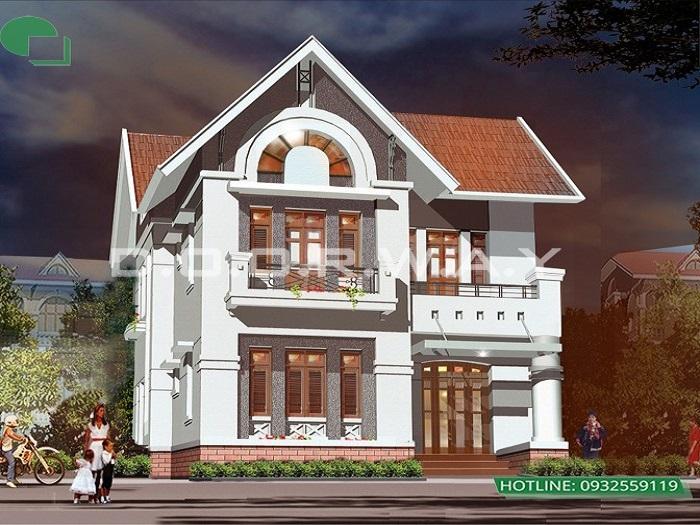1- thiết kế biệt thự 2 tầng chữ L phong cách tân cổ điển kết hợp hiện đại