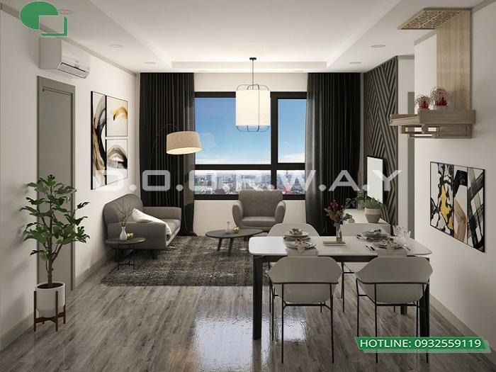 2- Tư vấn thiết kế nội thất căn hộ 65m2 2 phòng ngủ hiện đại từ Doorway