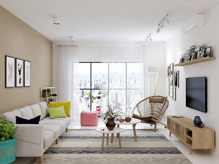 2- Bí quyết thiết kế nội thất phòng khách nhà ống thông thoáng