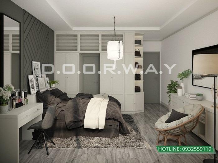 3- Tư vấn thiết kế nội thất căn hộ 65m2 2 phòng ngủ hiện đại từ Doorway