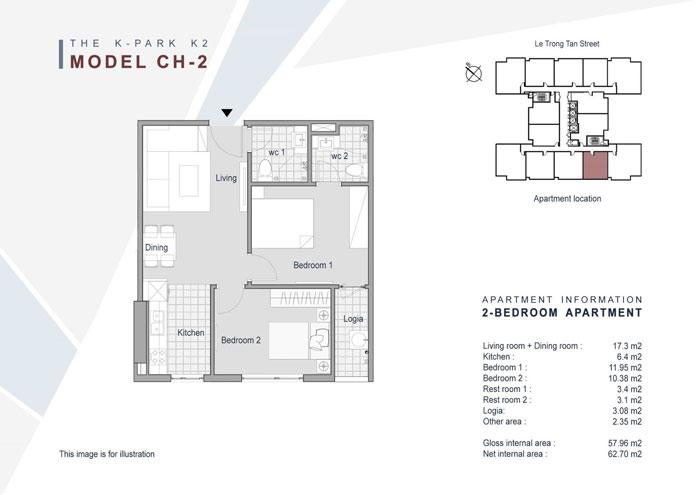 Mặt bằng căn 2 phòng ngủ 58m2- Khám phá mặt bằng thiết kế chung cư The K Park Văn Phú - Hà Đông