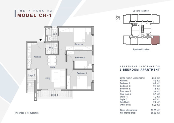 Mặt bằng căn 3 phòng ngủ 93m2- Khám phá mặt bằng thiết kế chung cư The K Park Văn Phú - Hà Đông