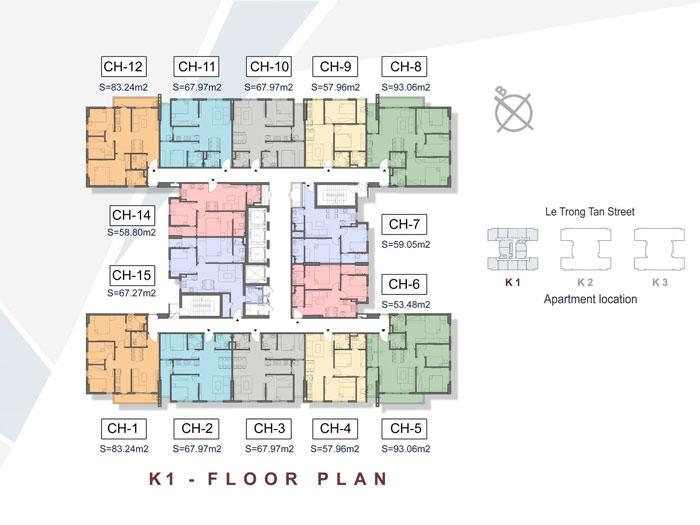 Mặt bằng tầng K1- Khám phá mặt bằng thiết kế chung cư The K Park Văn Phú - Hà Đông