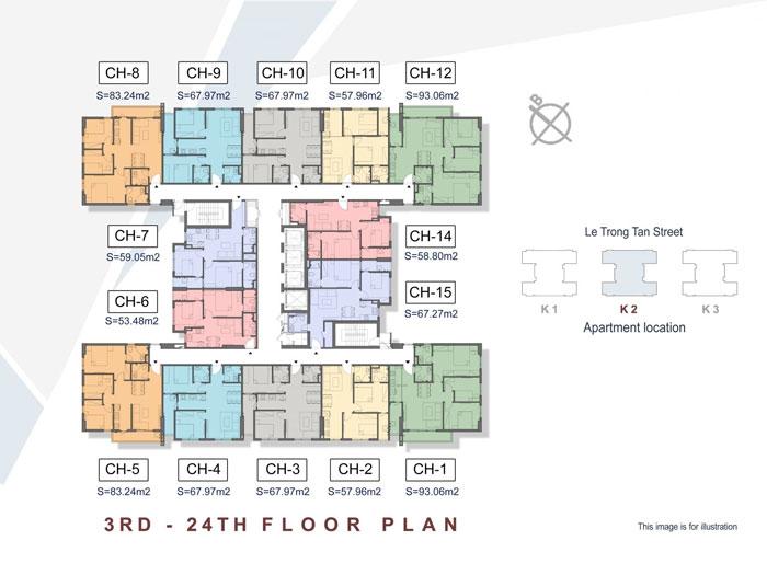 Mặt bằng tầng K2- Khám phá mặt bằng thiết kế chung cư The K Park Văn Phú - Hà Đông