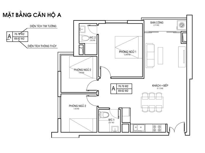MB- Thiết kế căn hộ 70m2 FLC Green Apartment - Căn hộ 3 phòng ngủ