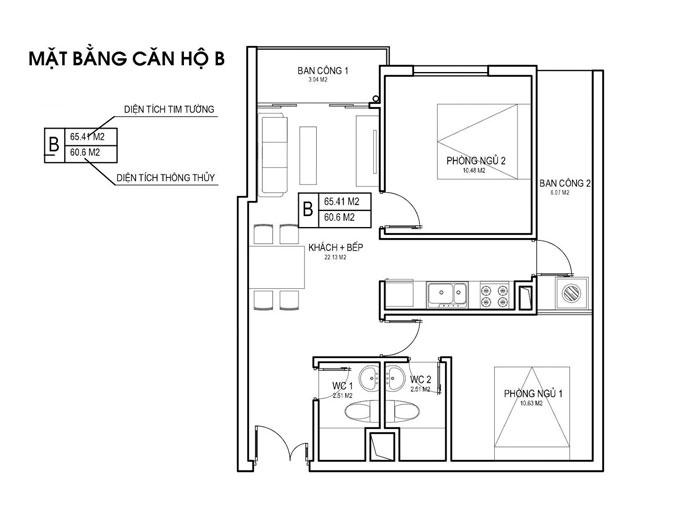 MB CH B- [2019] Xem mẫu thiết kế căn hộ 61m2 FLC Green Apartment - Nội thất đẹp