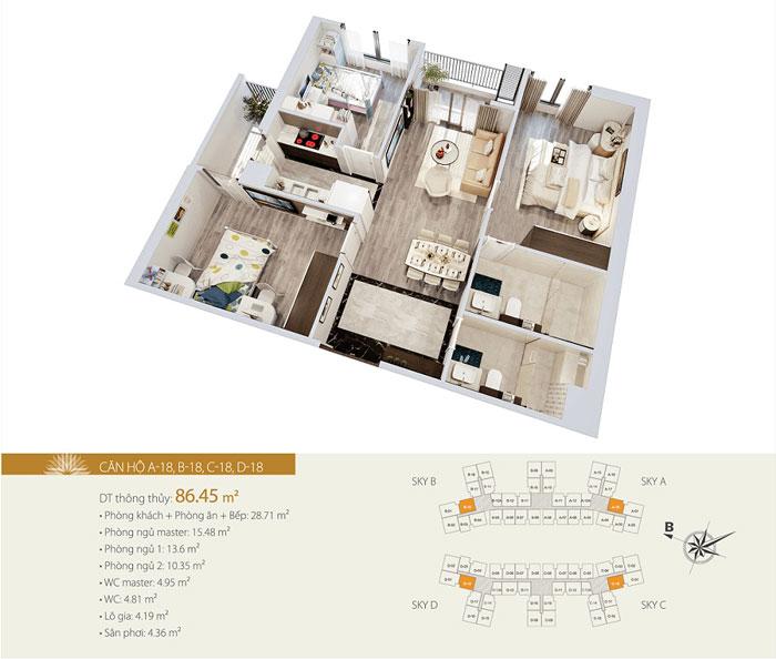 MB-86m2-3PN- Gợi ý thiết kế chung cư Imperia Sky Garden 423 Minh Khai