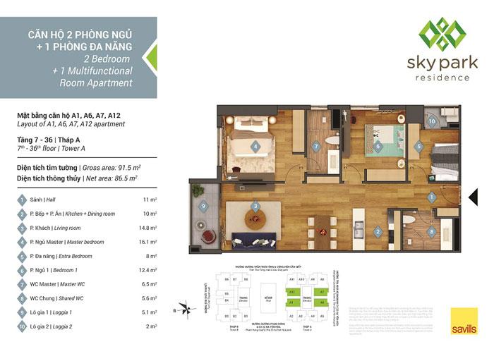 MB-87m2- [2019] Thiết kế căn hộ 87m2 Sky Park Residence - Nội thất sang trọng