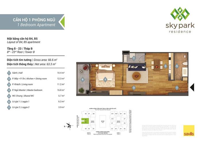 MB-63m2- Căn hộ 1PN - Thiết kế căn hộ 63m2 Sky Park Residence