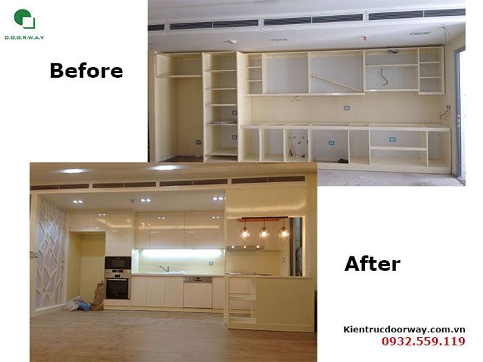 Before after 2- Mẫu thi công nội thất tủ bếp gỗ công nghiệp An Cường đẹp