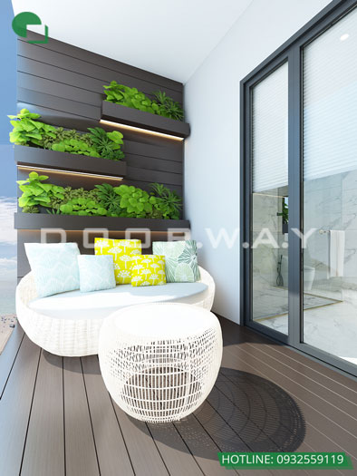 Logia- Mẫu thiết kế nội thất căn 60m2 A10 Nam Trung Yên - Căn hộ đẹp 2019