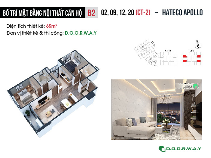 MB- [2019] Thiết kế nội thất căn 65m2 Hateco Apollo đẹp hiện đại