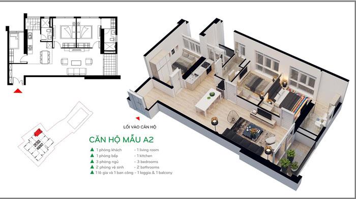 MB- Xem mẫu thiết kế nội thất căn hộ 81m2 Cầu Giấy Center Point - 3PN