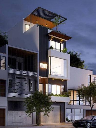 2. Thiết kế nhà 5x11m có gara