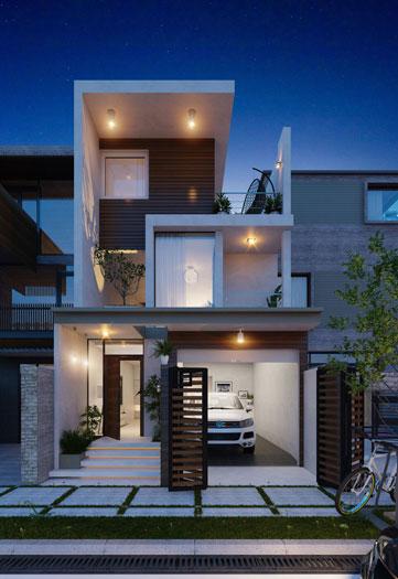 3.Thiết kế nhà 5x11m có gara