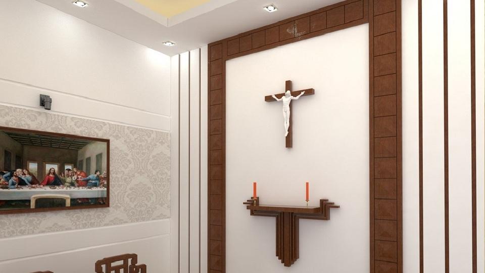 Ảnh tiêu biểu- Nguyên tắc thiết kế bàn thờ Chúa trong phòng khách cần lưu tâm