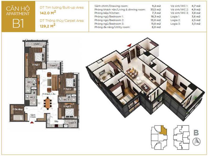 MB-129m2-3PN- Thiết kế nội thất căn 129m2 Sunshine Center - 3PN hiện đại