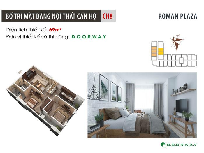 MB-69m2-2PN- Gợi ý mẫu nội thất căn 69m2 Roman Plaza cho gia đình trẻ