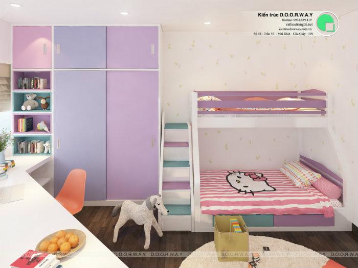 1- Gợi ý 7 mẫu phòng ngủ trẻ em màu hồng bé nào cũng thích mê