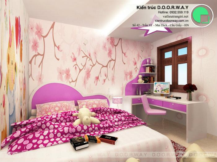 7- Gợi ý 7 mẫu phòng ngủ trẻ em màu hồng bé nào cũng thích mê