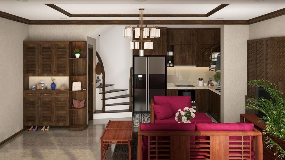 Ảnh tiêu biểu- Phong cách Indochine cho thiết kế nội thất nhà ống 4 tầng - a Hiệu