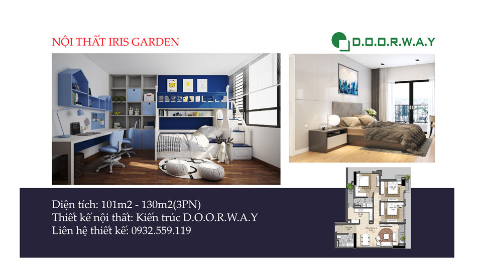Ảnh tiêu biểu- Bố trí nội thất căn 3 phòng ngủ Iris Garden như thế nào?