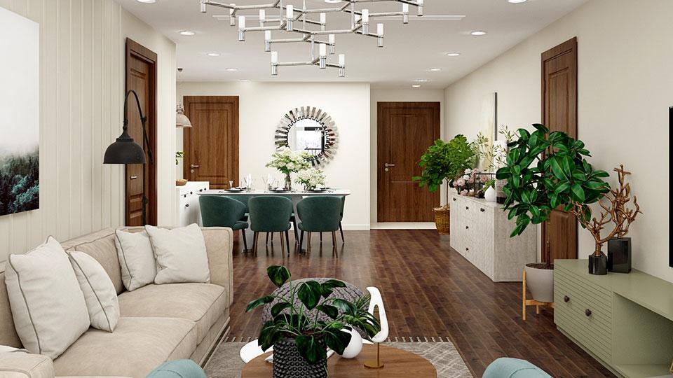 Thiết kế nội thất căn hộ 93m2 đẹp hiện đại