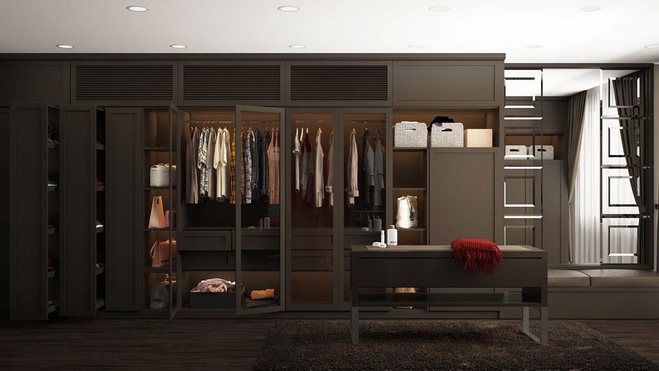 thiết kế phòng thay đồ trong phòng ngủ tiện nghi như thế nào