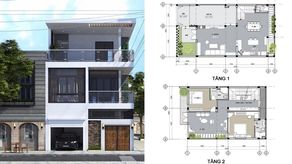 4 bản vẽ thiết kế nhà phố mặt tiền 8m đẹp chuẩn từng milimet