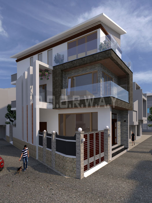 (1)Thiết kế kiến trúc nhà phố hiện đại của Doorway