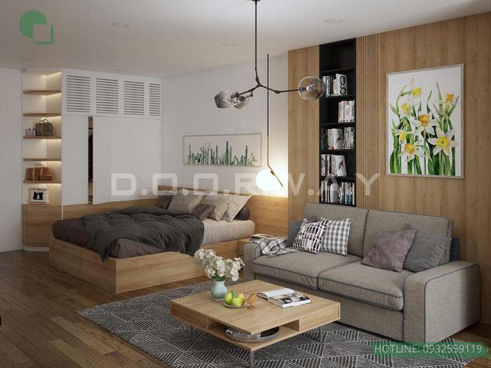 (1)Thiết kế nội thất chung cư 45 m2 đẹp hiện đại