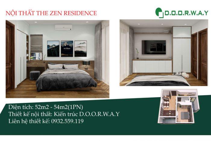 Ảnh tiêu biểu- Thiết kế nội thất căn 1 phòng ngủ The Zen - Căn hộ loại A