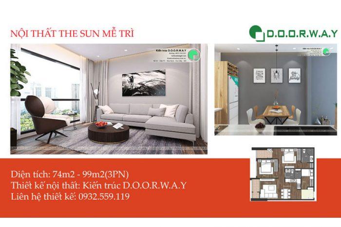 Ảnh tiêu biểu- Nội thất căn 3 phòng ngủ The Sun Mễ Trì với thiết kế đẹp