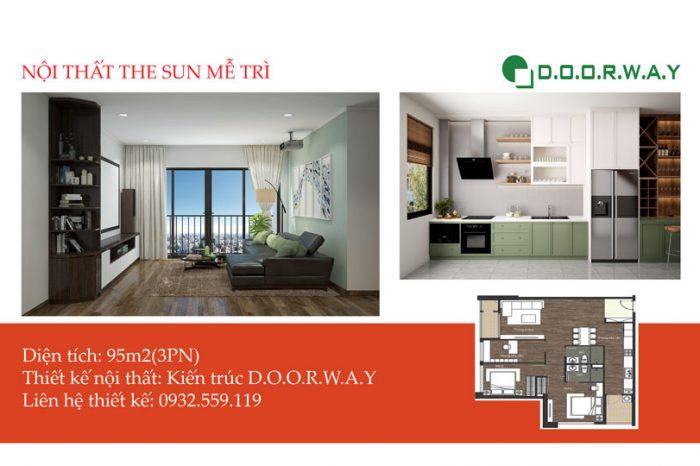 Ảnh tiêu biểu- Thiết kế nội thất căn 95m2 The Sun Mễ Trì - 3PN đẹp