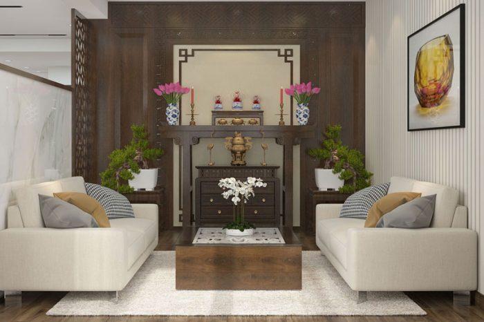 Ảnh tiêu biểu- 8 mẫu thiết kế bàn thờ ở phòng khách nhà ống, chung cư