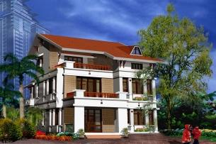 Ảnh tiêu biểu - thiết kế biệt thự 2 tầng chữ L phong cách tân cổ điển kết hợp hiện đại